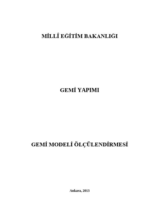 Gemi Modeli Ölçülendirmesi ders notu pdf