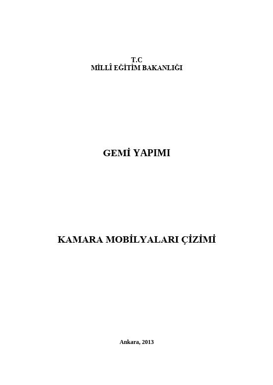 Kamara Mobilyaları Çizimi ders notu pdf