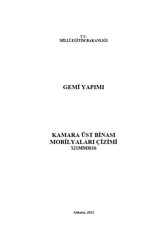 Kamara Üst Binası Mobilyaları Çizimi ders notu pdf