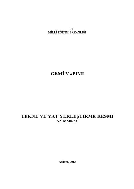 Tekne Ve Yat Yerleştirme Resmi ders notu pdf