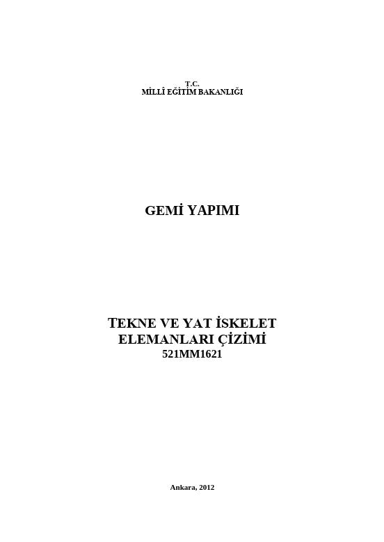 Tekne Ve Yat İskelet Elemanları Çizimi ders notu pdf