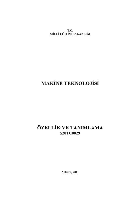 Özellik Ve Tanımlama ders notu pdf