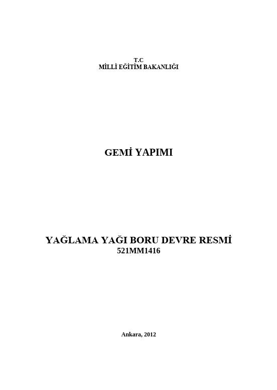 Yağlama Yağı Boru Devre Resmi ders notu pdf