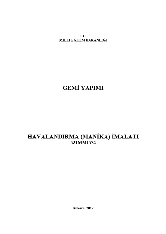 Havalandırma (manika) İmalatı ders notu pdf