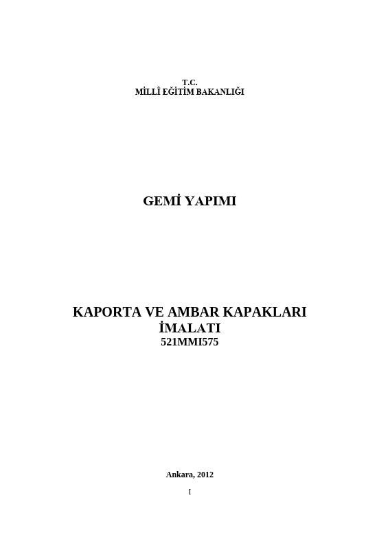 Kaporta Ve Ambar Kapakları İmalatı ders notu pdf