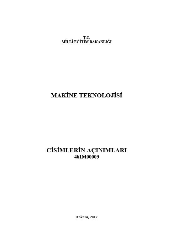 Cisimlerin Açınımları (makine) ders notu pdf