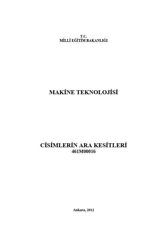 Cisimlerin Ara Kesitleri ders notu pdf