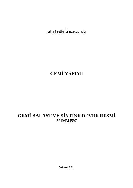 Gemi Balast Ve Sintine Devre Resmi ders notu pdf