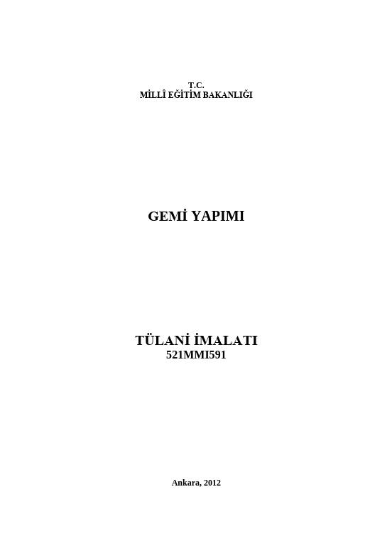 Tülani İmalatı ders notu pdf