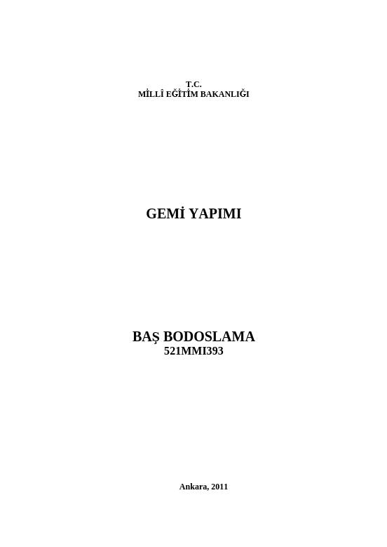 Baş Bodoslama ders notu pdf