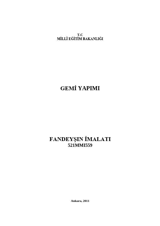 Fandeyşin İmalatı ders notu pdf