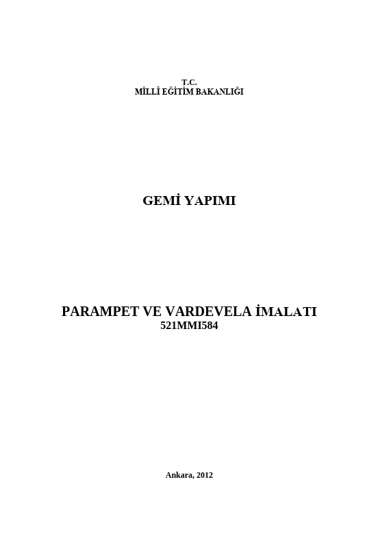 Parampet Ve Vardevela İmalatı ders notu pdf