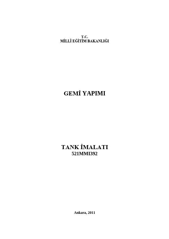 Tank İmalatı ders notu pdf