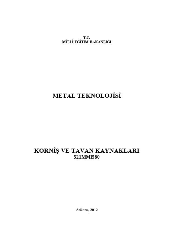 Korniş Ve Tavan Kaynakları ders notu pdf