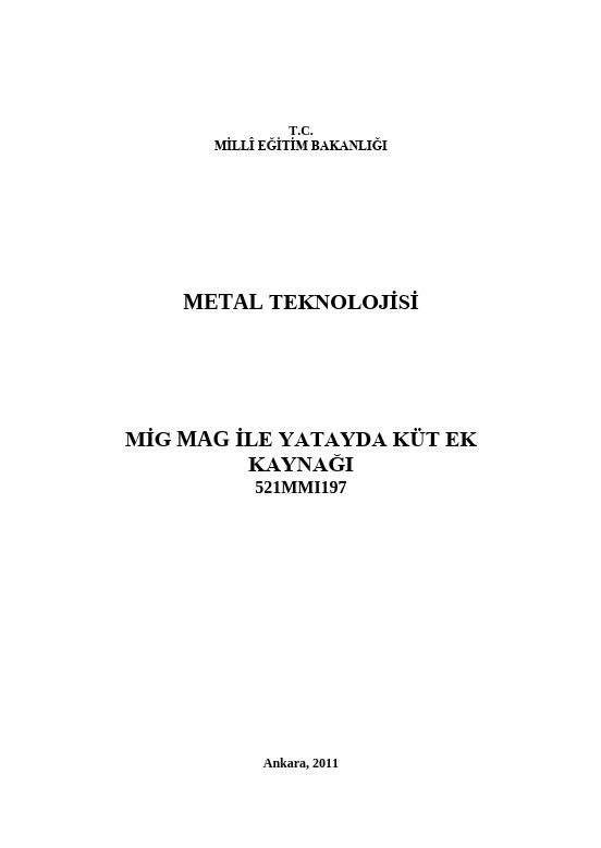 Mig-mag Ile Yatayda Küt Ek Kaynağı ders notu pdf