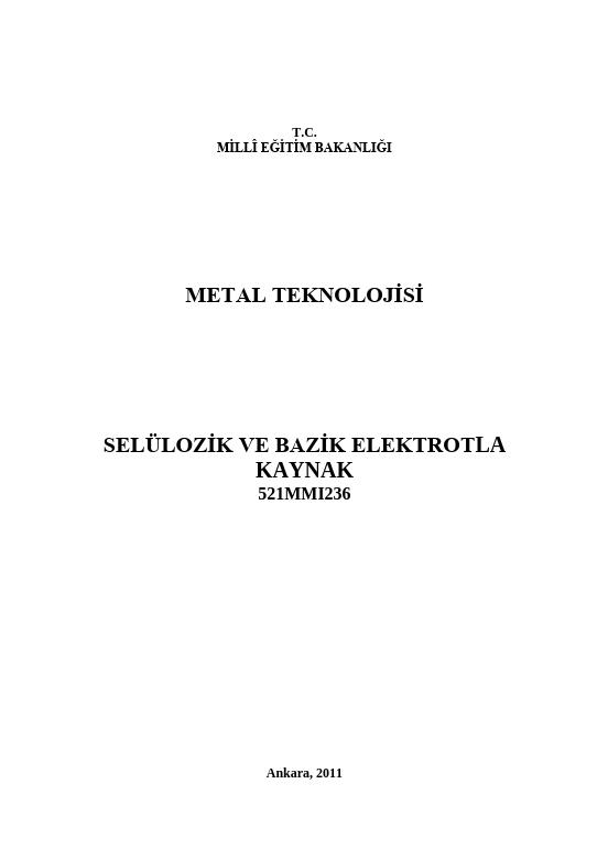 Selülozik Ve Bazik Elektrotla Kaynak ders notu pdf