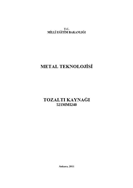 Tozaltı Kaynağı ders notu pdf
