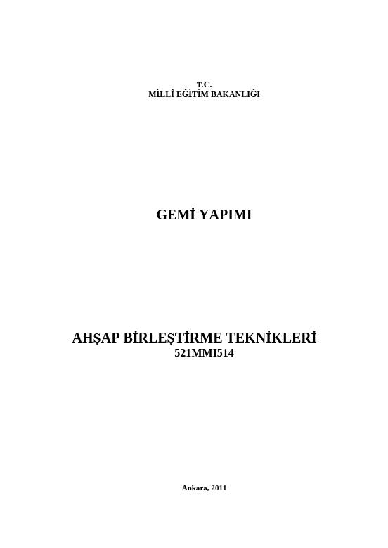 Ahşap Birleştirme Teknikleri ders notu pdf