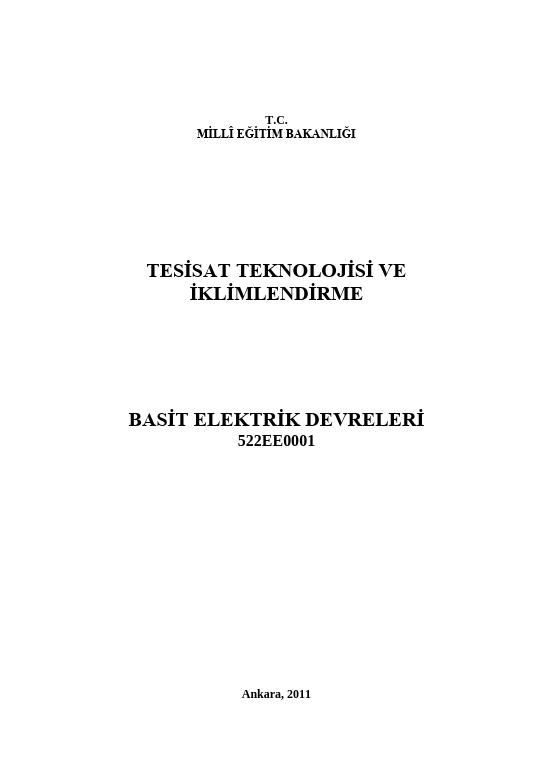 Basit Elektrik Devreleri ders notu pdf