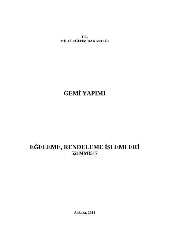 Eğeleme, Rendeleme İşlemleri ders notu pdf