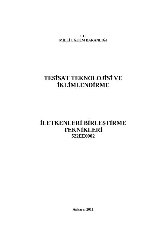 İletkenleri Birleştirme Teknikleri ders notu pdf
