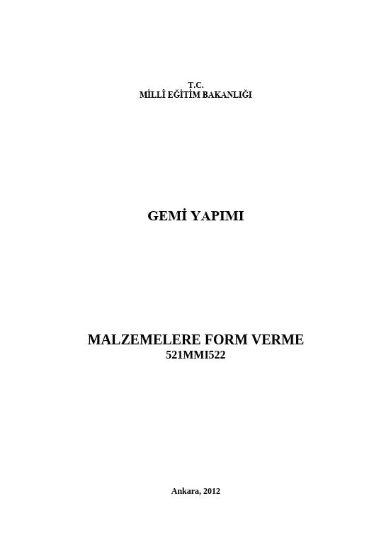 Malzemelere Form Verme ders notu pdf