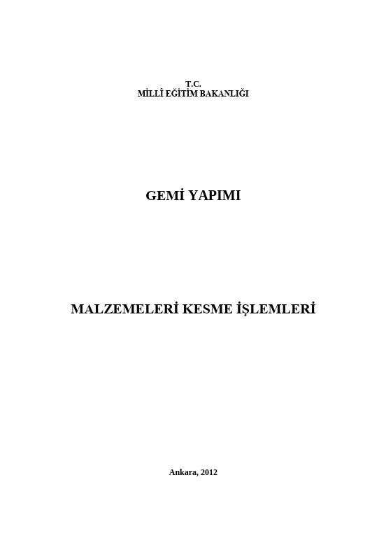 Malzemeleri Kesme İşlemleri ders notu pdf