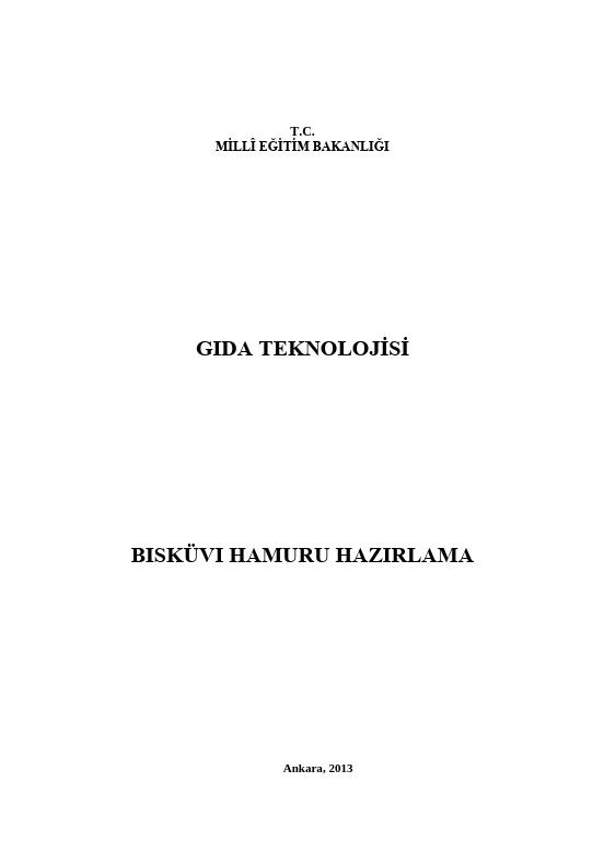 Bisküvi Hamuru Hazırlama ders notu pdf
