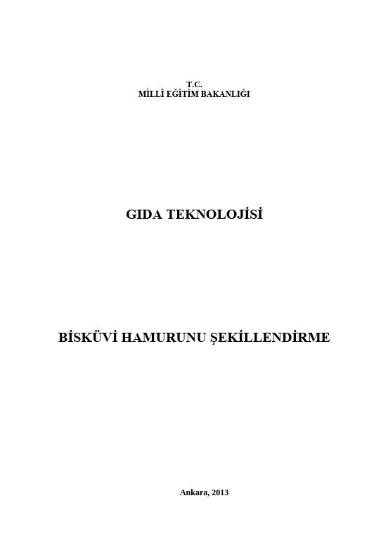 Bisküvi Hamurunu Şekillendirme ders notu pdf