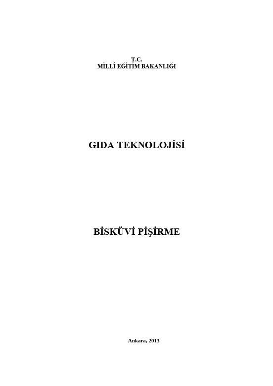 Bisküvi Pişirme ders notu pdf