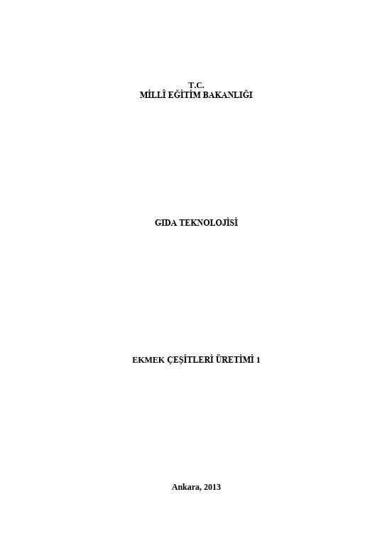 Ekmek Çeşitleri Üretimi 1 ders notu pdf