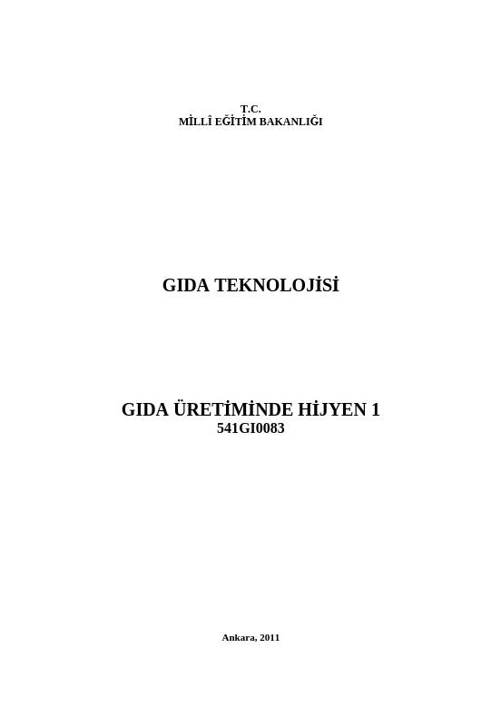 Gıda Üretiminde Hijyen 1 ders notu pdf