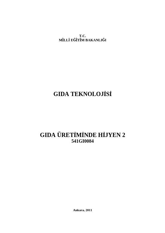 Gıda Üretiminde Hijyen 2 ders notu pdf