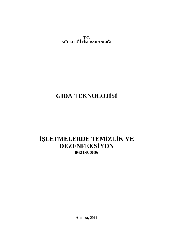 İşletmelerde Temizlik Ve Dezenfeksiyon ders notu pdf