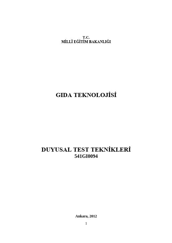 Duyusal Test Teknikleri