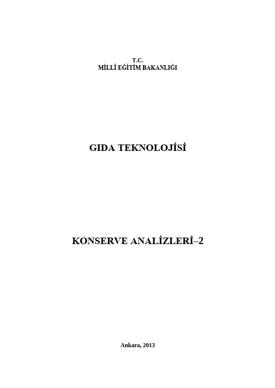 Konserve Analizleri 2 ders notu pdf