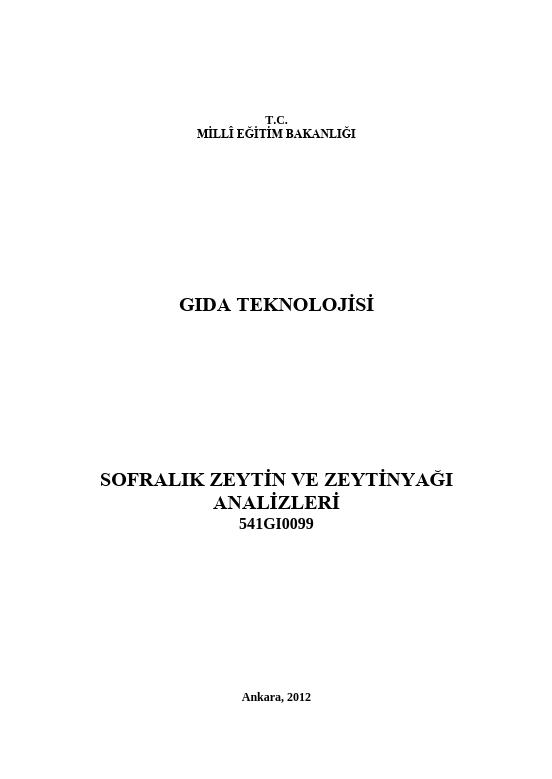 Sofralık Zeytin Ve Zeytin Yağı Analizleri ders notu pdf