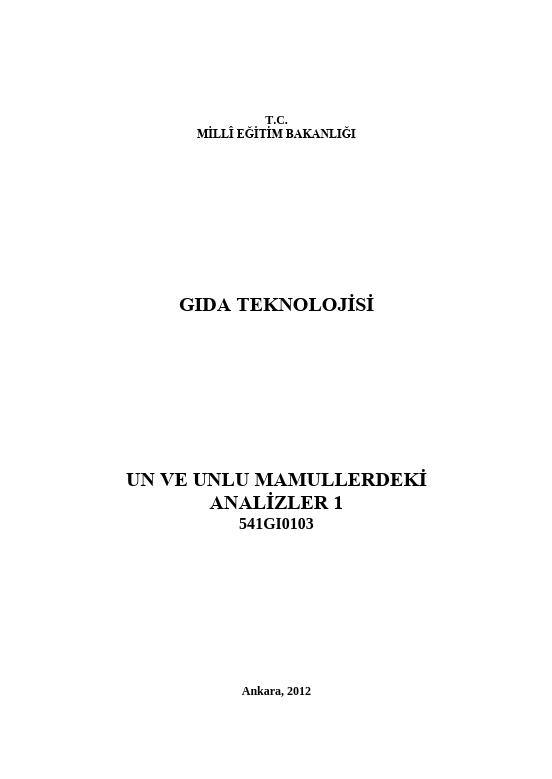 Un Ve Unlu Mamullerdeki Analizler 1 ders notu pdf