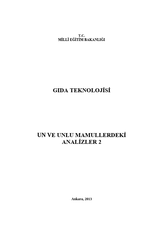 Un Ve Unlu Mamullerdeki Analizler 2 ders notu pdf