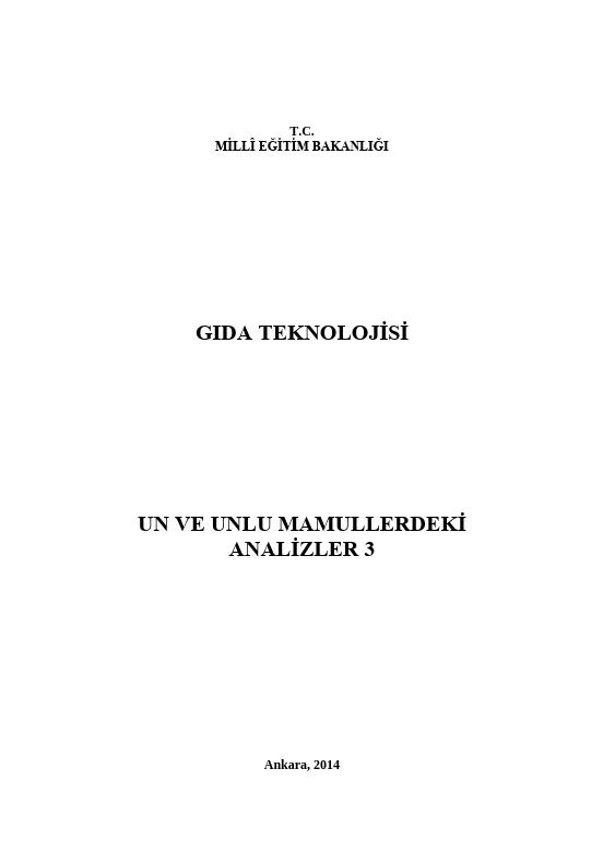 Un Ve Unlu Mamullerdeki Analizler 3 ders notu pdf