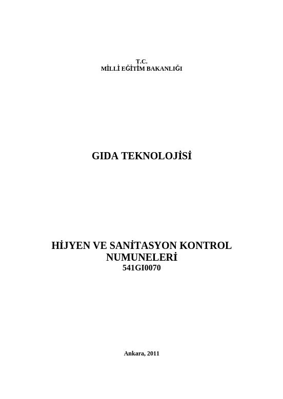 Hijyen Ve Sanitasyon Kontrol Numuneleri ders notu pdf