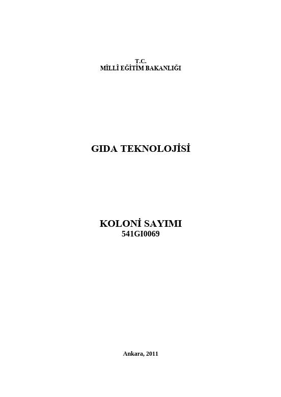 Koloni Sayımı ders notu pdf