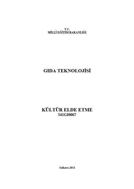 Kültür Elde Etme ders notu pdf