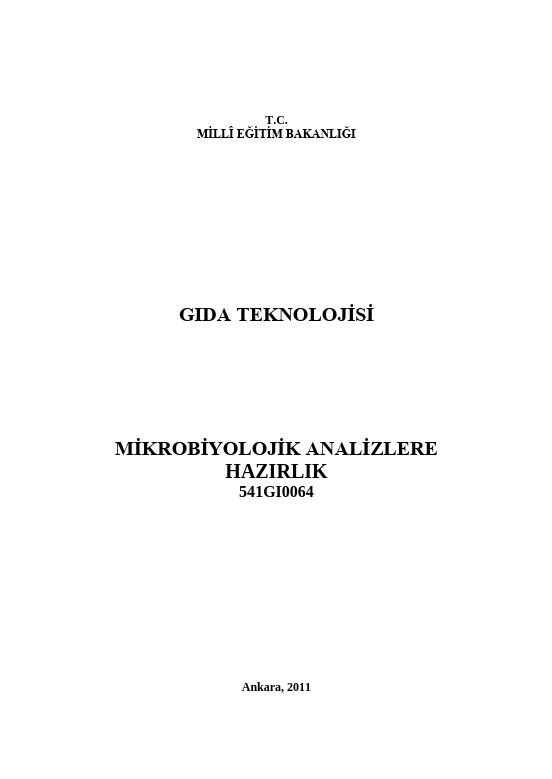 Mikrobiyolojik Analizlere Hazırlık ders notu pdf