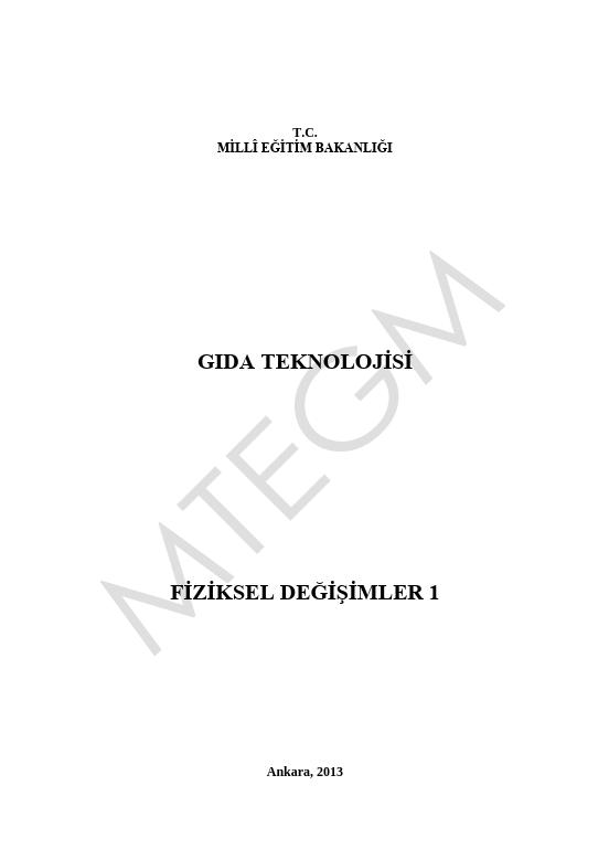 Fiziksel Değişimler 1 ders notu pdf