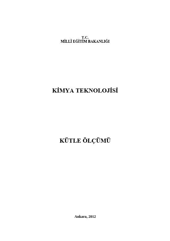 Kütle Ölçümü ders notu pdf