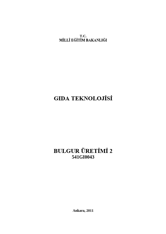 Bulgur Üretimi 2 ders notu pdf