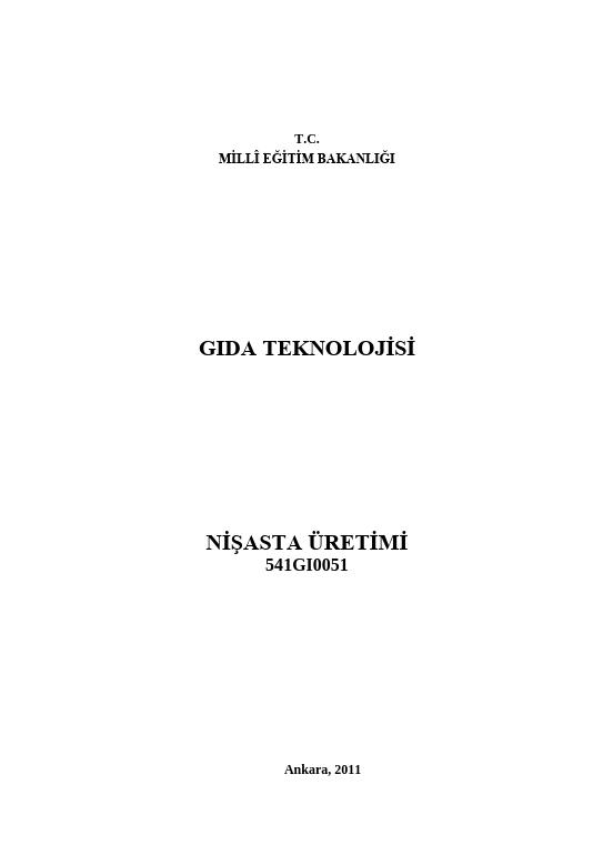 Nişasta Üretimi ders notu pdf
