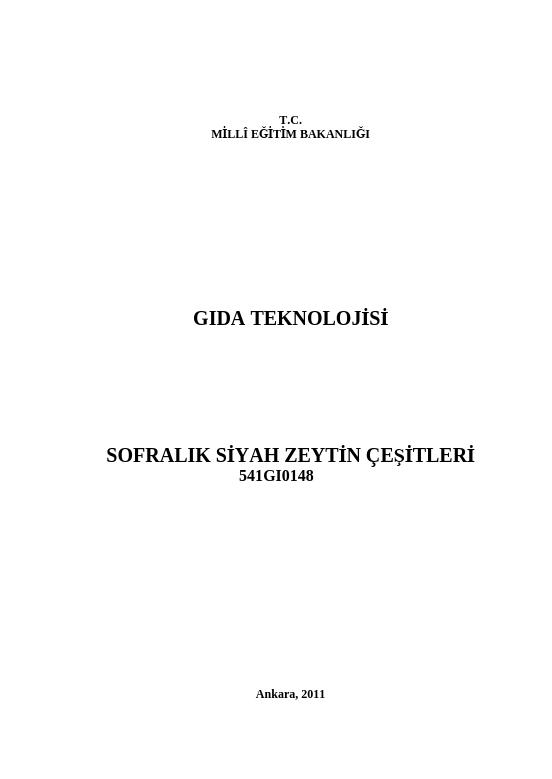 Sofralık Siyah Zeytin Çeşitleri ders notu pdf