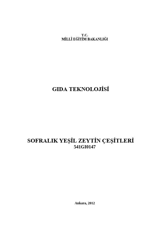 Sofralık Yeşil Zeytin Çeşitleri ders notu pdf